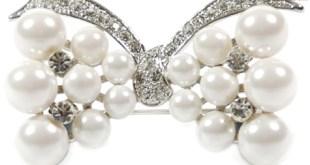 Pearl Diamante Bow Brooch