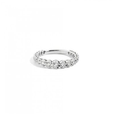 Anello veretta in oro bianco 18Kt con diamanti taglio brillante, misura disponibile 14