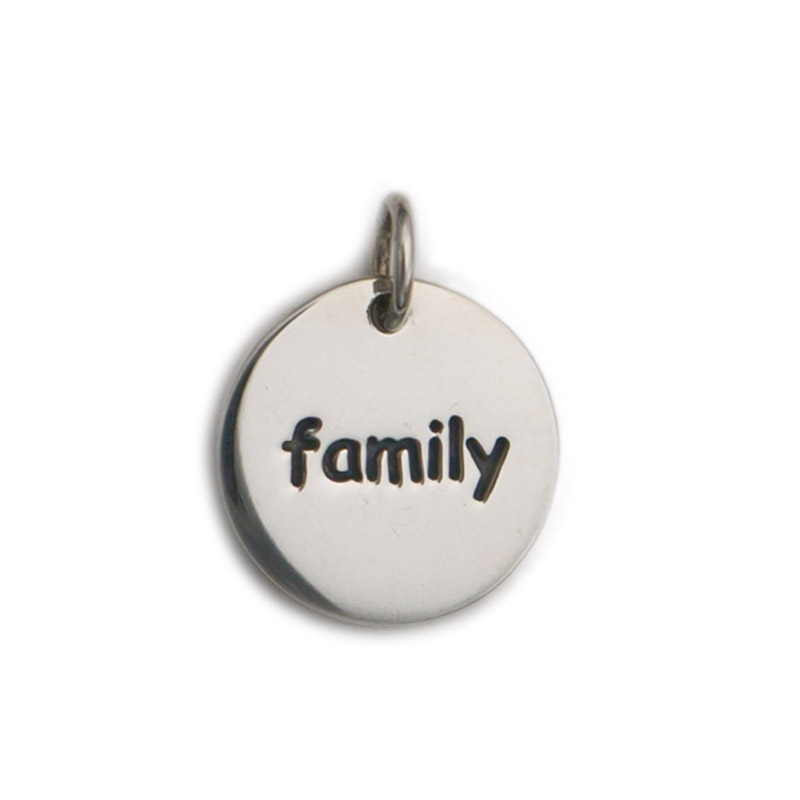 sterling silver quot family quot word disc charm jewelsmith