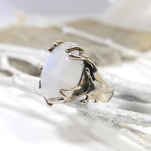 Moonstone Ring w/ Branch-Like Setting Sterling Silver
