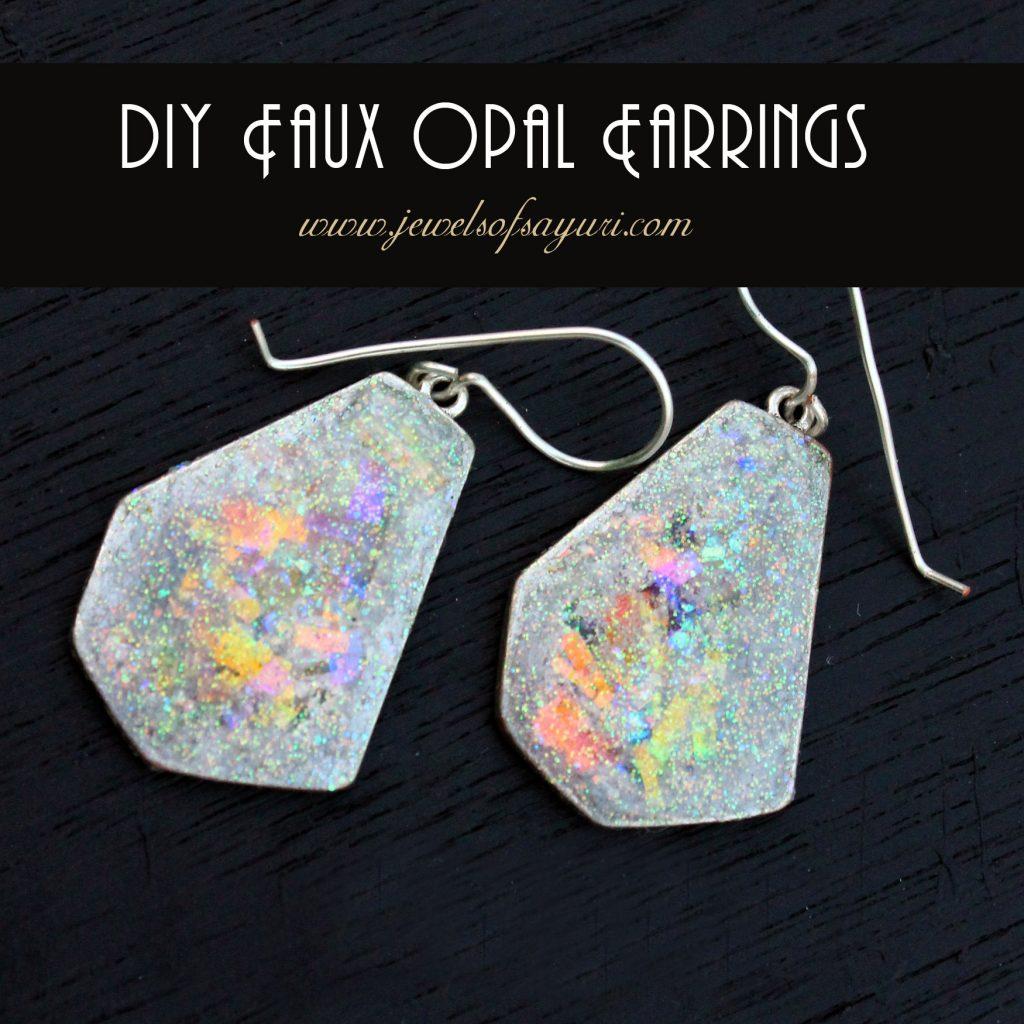 Mint Leafy Faux Opal Resin Dangle Earrings