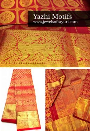 kanchipurm saree with yazhi border