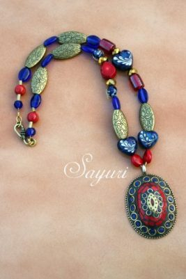 Tibetan Mosaic pendant necklace
