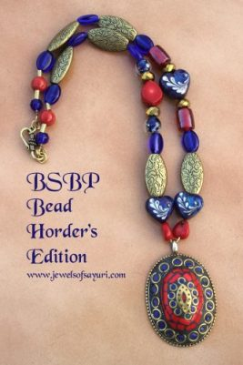 Tibetan mosaic pendant tribal necklace with lampwork hearts