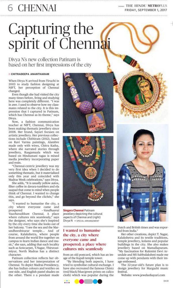 Divya N - Patinam featured in newspapers - Hindu metroplus