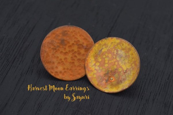 copper textured moon earrings