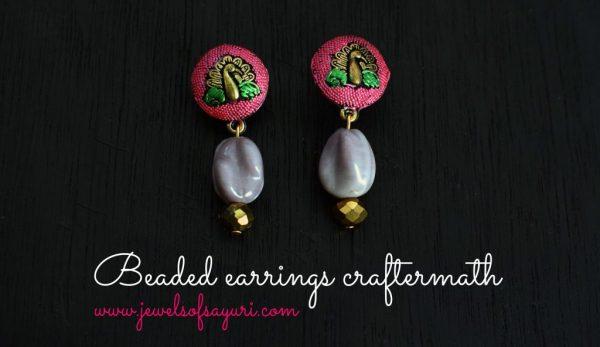 Beaded peacock earrings