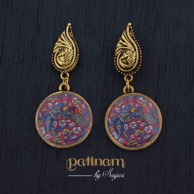 kalamkari peacock earrings1