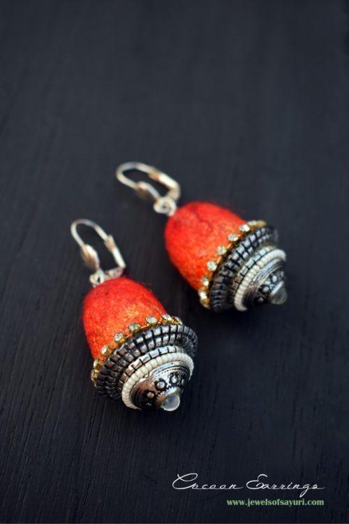 DIY Silk Cocoon earrings