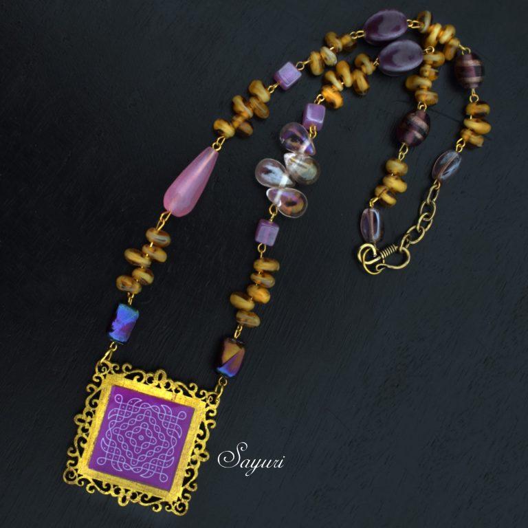 purple kolam necklace