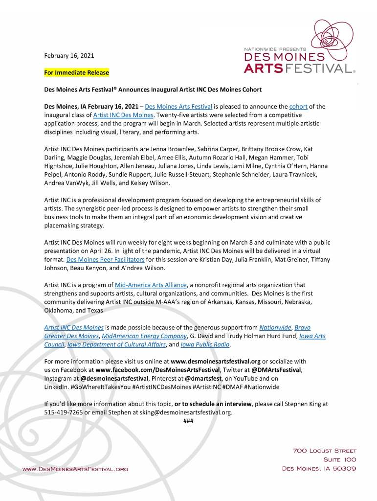 Des Moines Arts Festival Press Release announcing Juliana Jones as a participant in their inaugural Artist INC Des Moines Cohort.