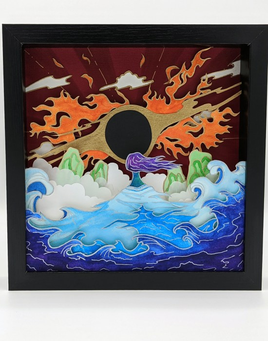 Paper Art of a woman of the sea confronting a flaming fire.