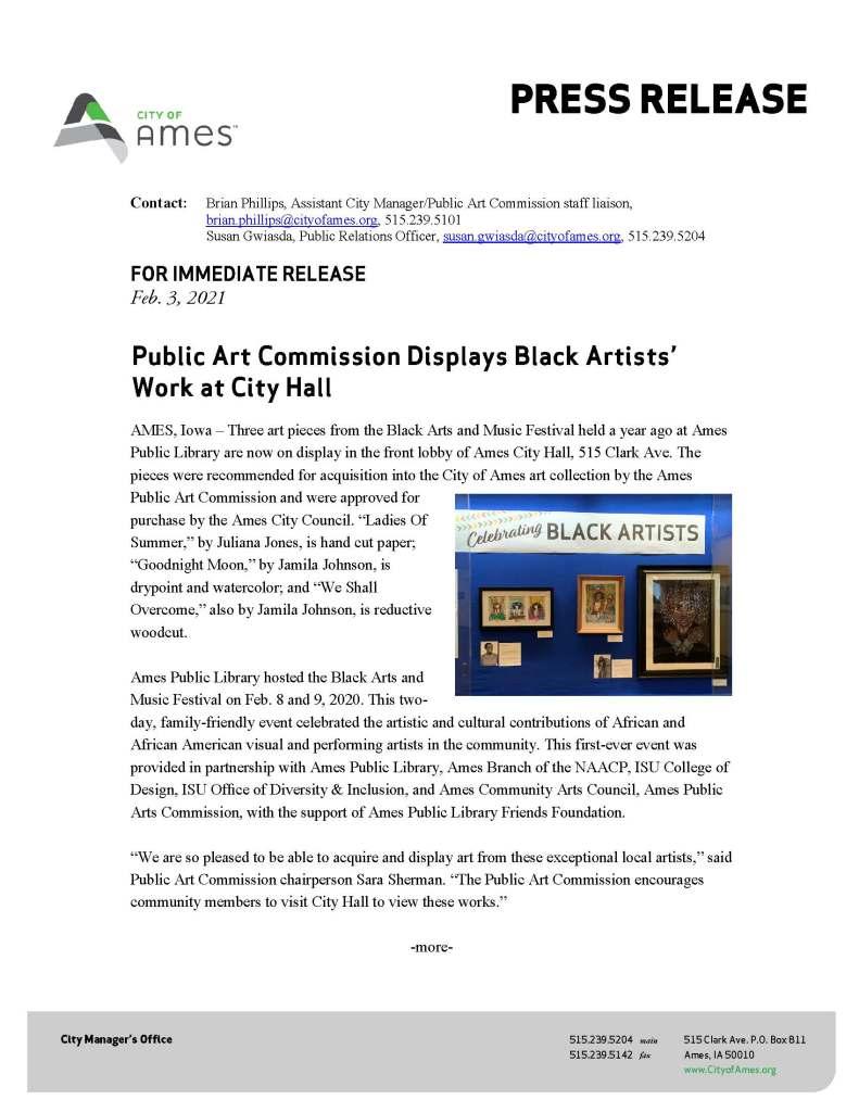 Public Art Commission City Hall Announces Black Artists Display - Page 1