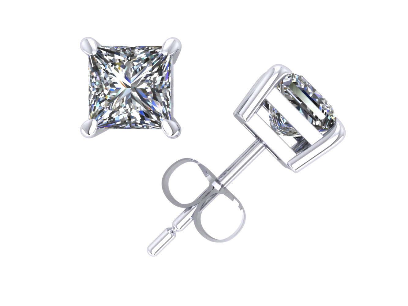 1 00ct Princess Diamond Solitaire Stud Earrings 18k White