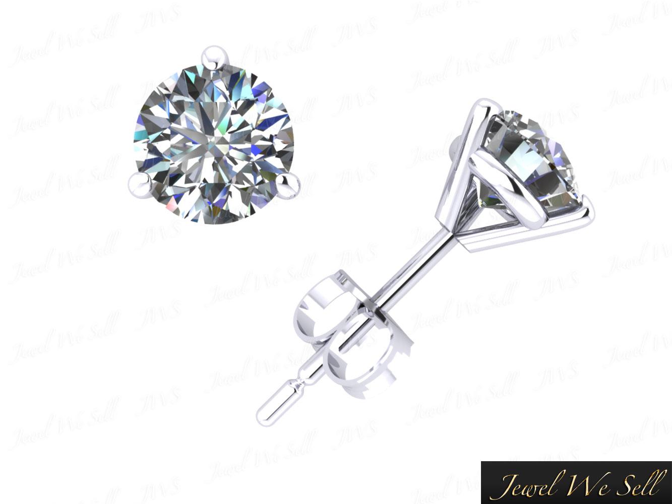 Genuine 0 75ct Round Cut Diamond Martini Stud Earrings 950
