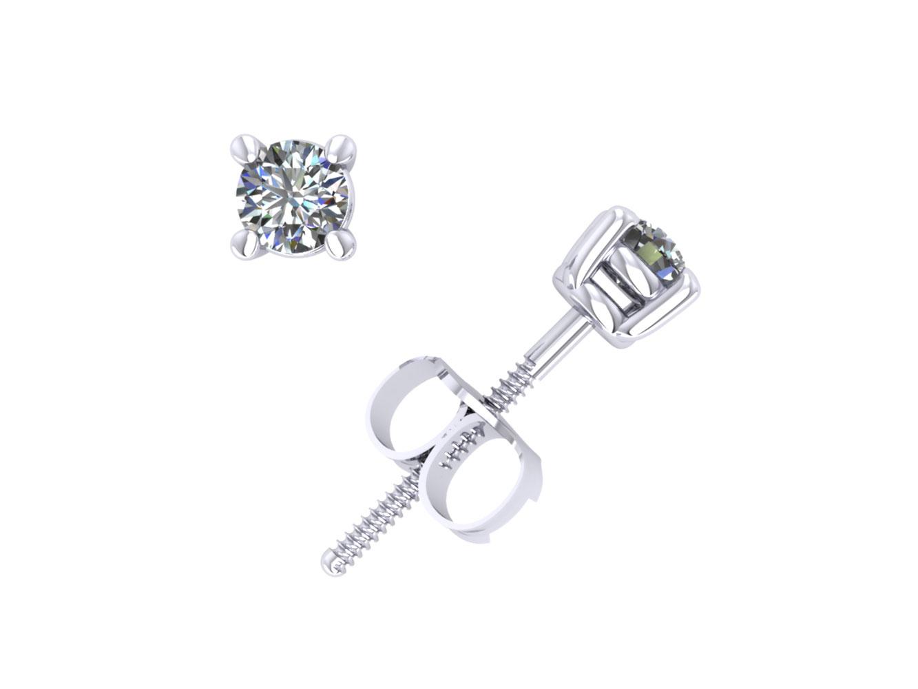 0 15ct Round Cut Diamond Basket Stud Earrings 10k White