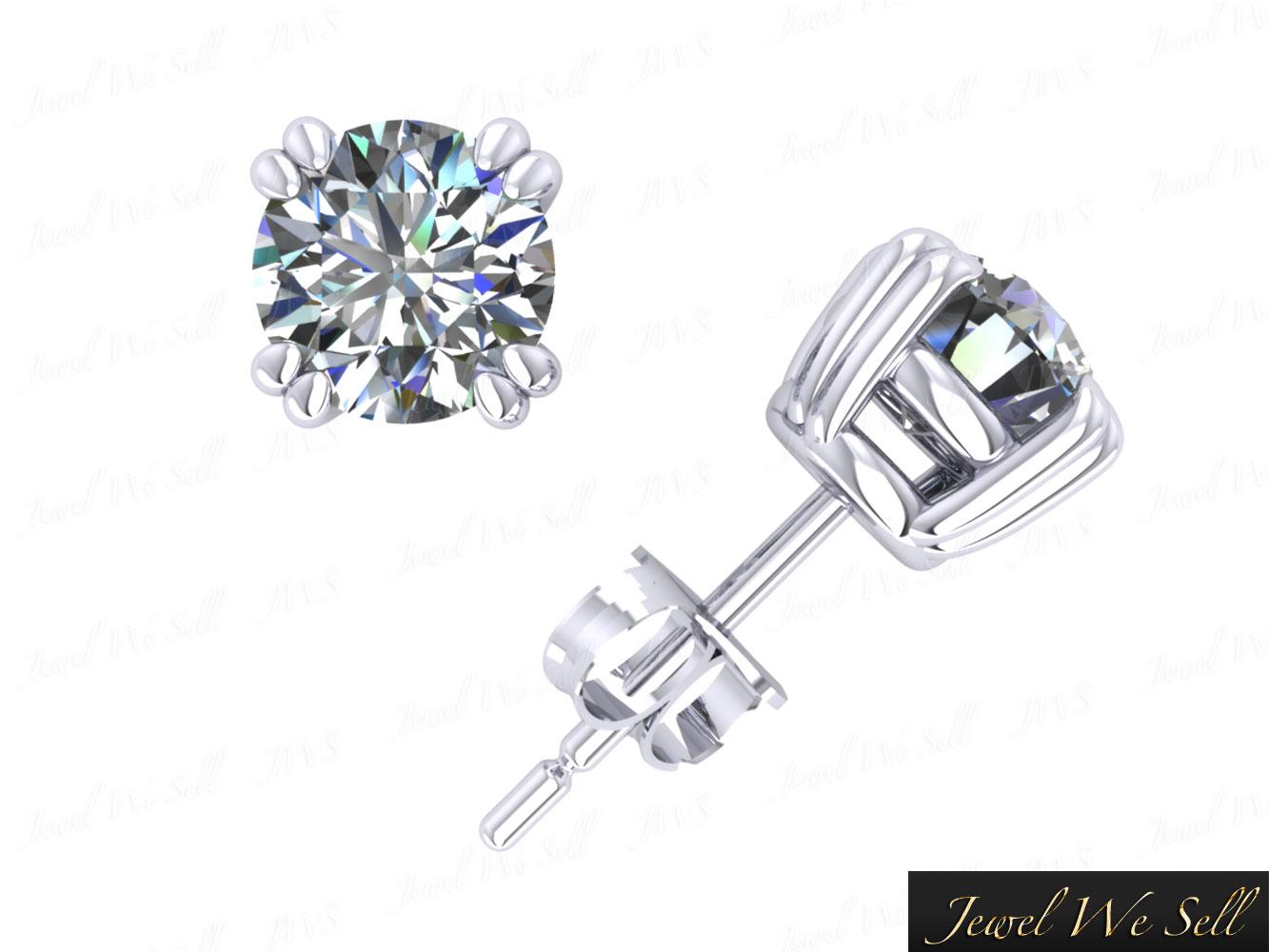 1 50ct Round Diamond Basket Stud Earrings 14karat White