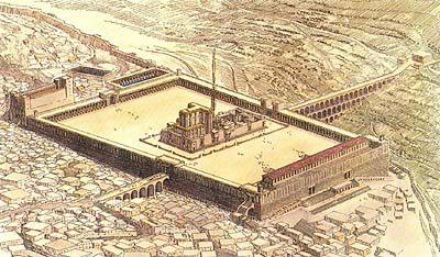 A reconstruction of the Herodian temple - Temple Mount with the Jewish Temple at its center.
