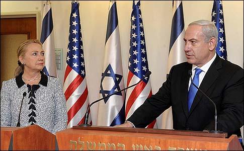 EE.UU. La secretaria de Estado Hillary Clinton y el primer ministro israelí, Benjamin Netanyahu, en Jerusalén el 20 de noviembre de 2012.