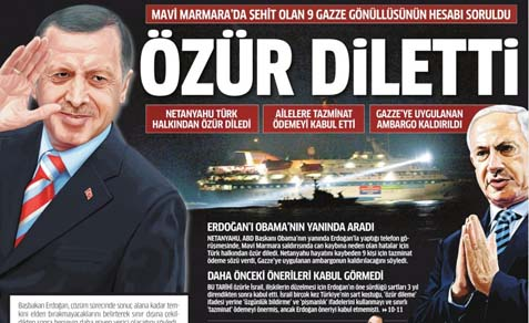 "The Turkish newspaper's headline reads: ""Sorry."""