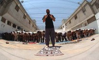 Muslim prisoners praying at the Ayalon prison complex.