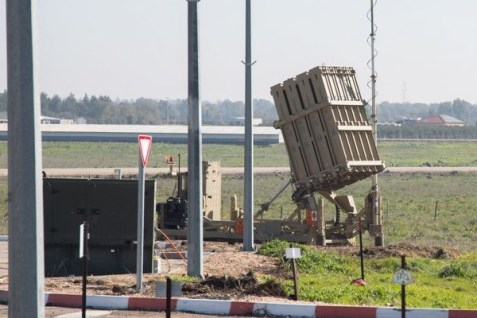 An Iron Dome anti-missile system is deployed on the Golan Heights to protect northern Israel.