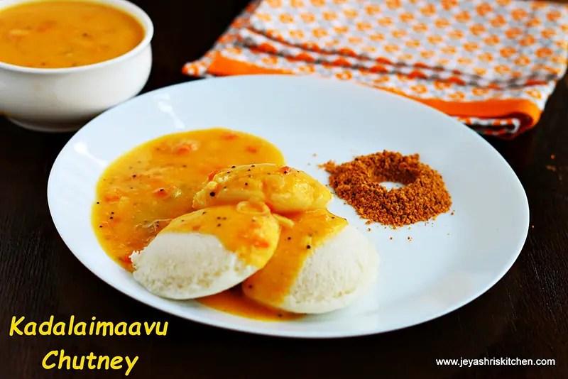 Kadalai maavu(besan) chutney, side dish for idli | dosa ...