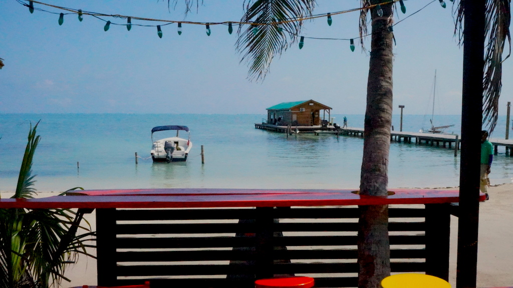 Working on my laptop with ocean view on Belize's Caye Caulker