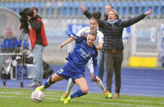 Emotionen pur gab es beim Erfolg der Damen des FF USV Jena gegen Duisburg. - Foto © FF USV