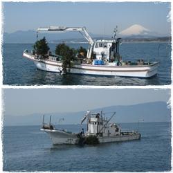 2012年3月22日間伐材漁礁設置日海丸と川長三晃丸