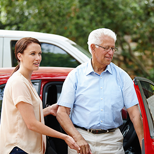 senior client arrives at his destination thanks to his volunteer Rides driver