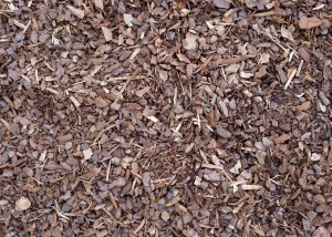 A photo of brown, double-shredded mulch.