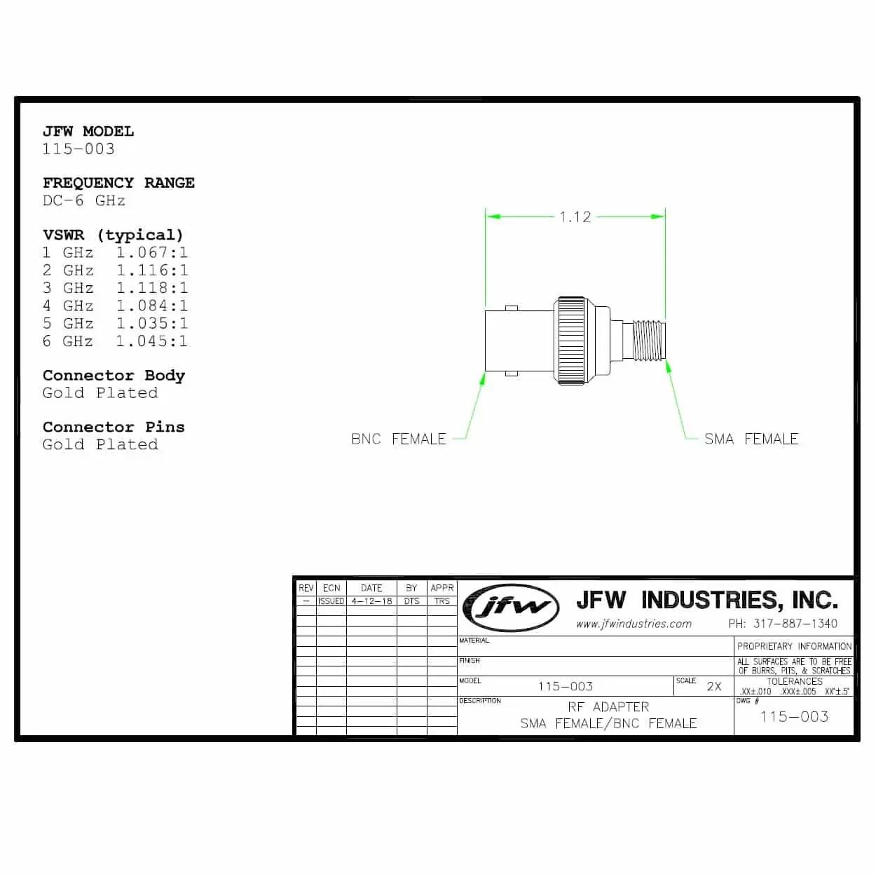 50 Ohm Coaxial Rf Adapter Sma Female To Bnc Female Dc 6 Ghz Model 115 003