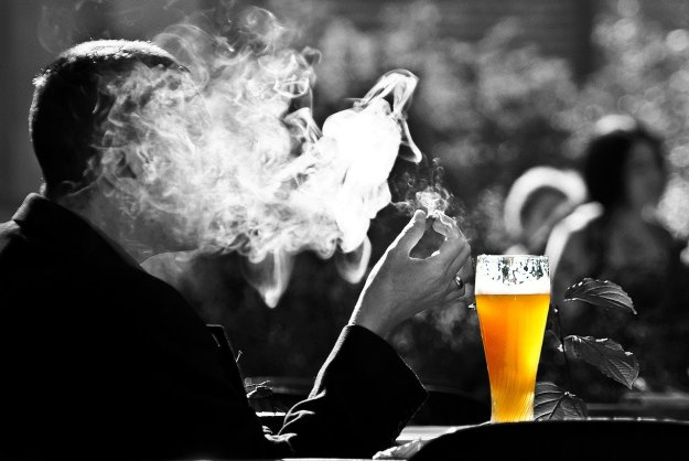 drinking smoke beer