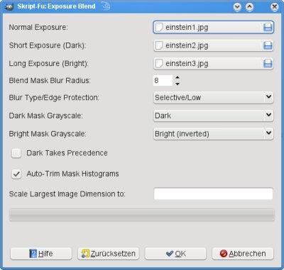 GIMP Exsposure Blend Dialog