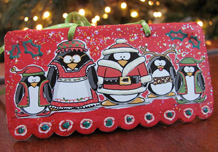 Happy Holiday Christmas Penguins by Jen Goode