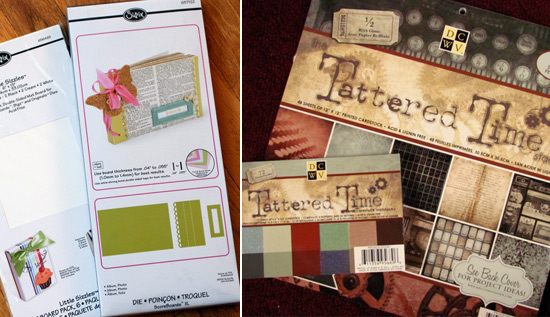 Eileen Hull Sizzix Album die and DCWV Tattered Time paper