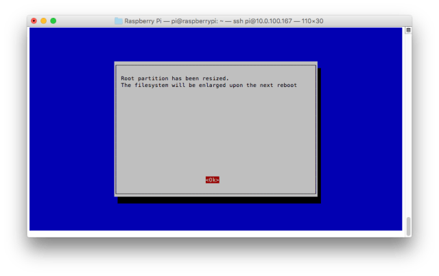 Raspberry Pi Configuration Tool (raspi-config) - Partition has been extended, confirmation screen