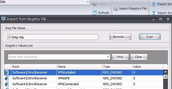 Import from Registry File