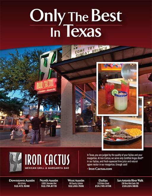 Iron Cactus Ad in Austin Monthly Magazine