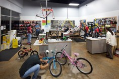 Interior photography of the Bicycle Sport Shop, Parmer store
