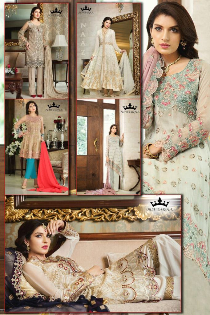 Mohtarma fabrics naaz heavy embroidery salwar kameez collection wholesale price supplier