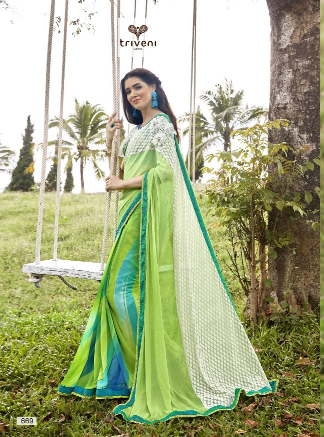 Triveni amira-7 printed sarees collection at wholesale rate