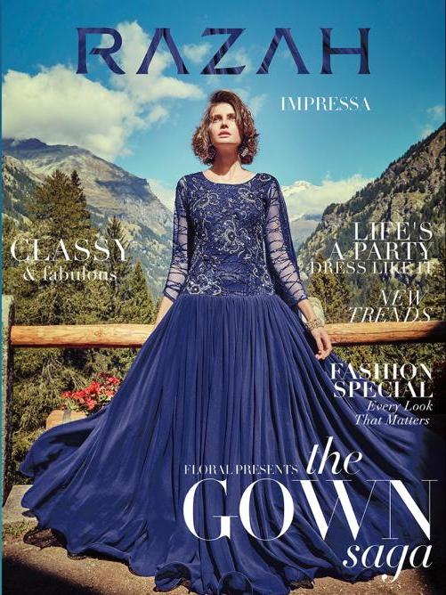 Jinaam razah impressa gown with dupatta catalog