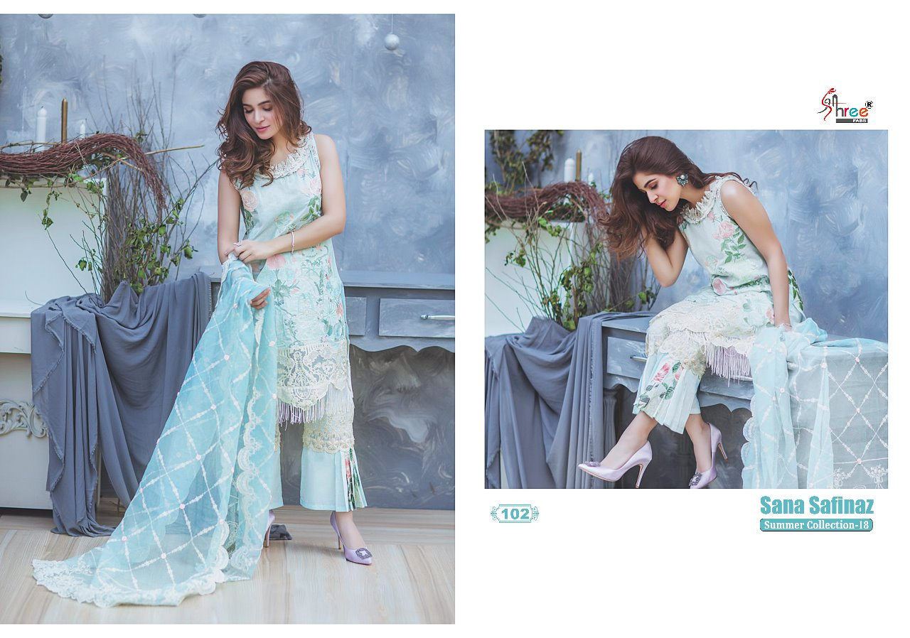 0076076e94 Shree fabs sana safinaz summer collection 18 salwar Kameez Catalog Dealer