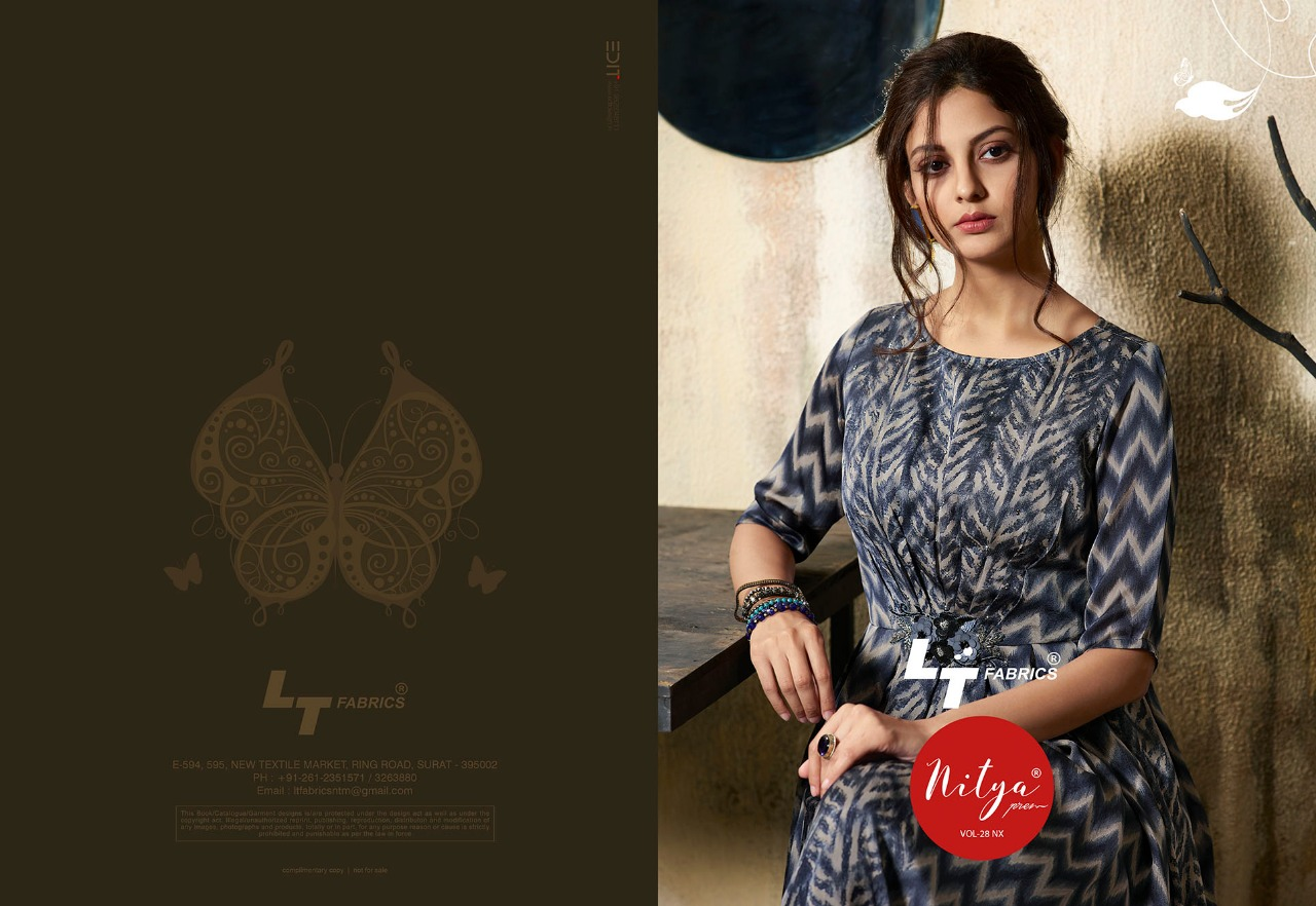11ad7dc9f3 LT fabrics presenting nitya vol 28 nX casual wear collection of Long kurtis