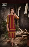 Four buttons presenting stripes beautiful casual wear kurtis collection
