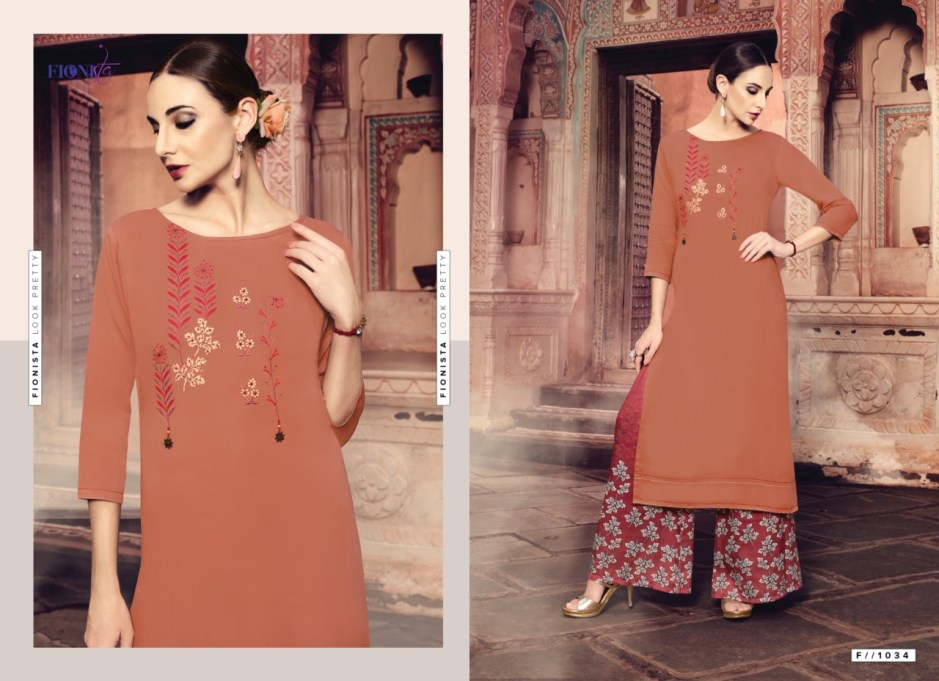 Fionista Launch chhori casual Stylish wear Kurti with plazzo concepr