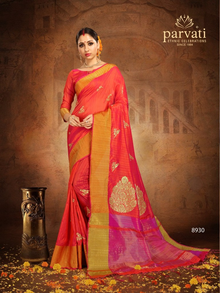 Parvati presenting silk fusion vol 7 rich look beautiful casual sarees collection