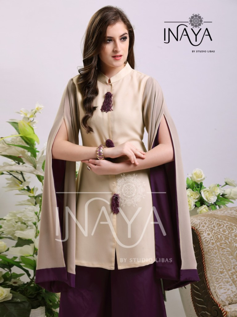 Inaya by studio libas presenting luxury pret collection vol 7 stylish trendy look kurtis style tunic with culottes pants concept